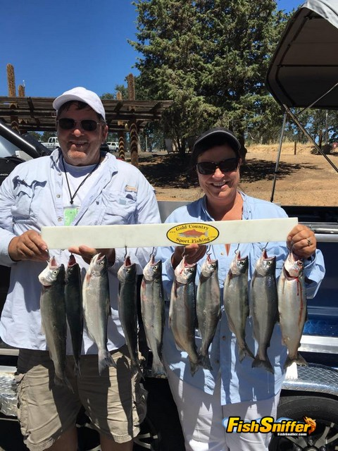 This couple had a great day catching these 9 kokanee salmon and one rainbow at Don Pedro on June 22 with Monte Smith.
