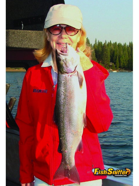 Jill Hygelund recently took a trip to Lake Almanor with her husband Chris to celebrate their 38th anniversary. They both caught trout, including this beautiful rainbow that Jill battled.