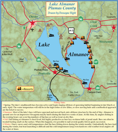 Maps for Lake almanor fishing report