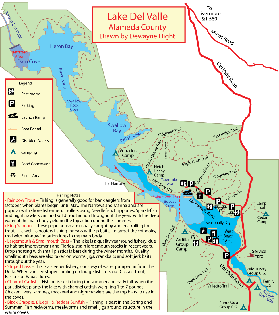 Maps for Lake del valle fishing report