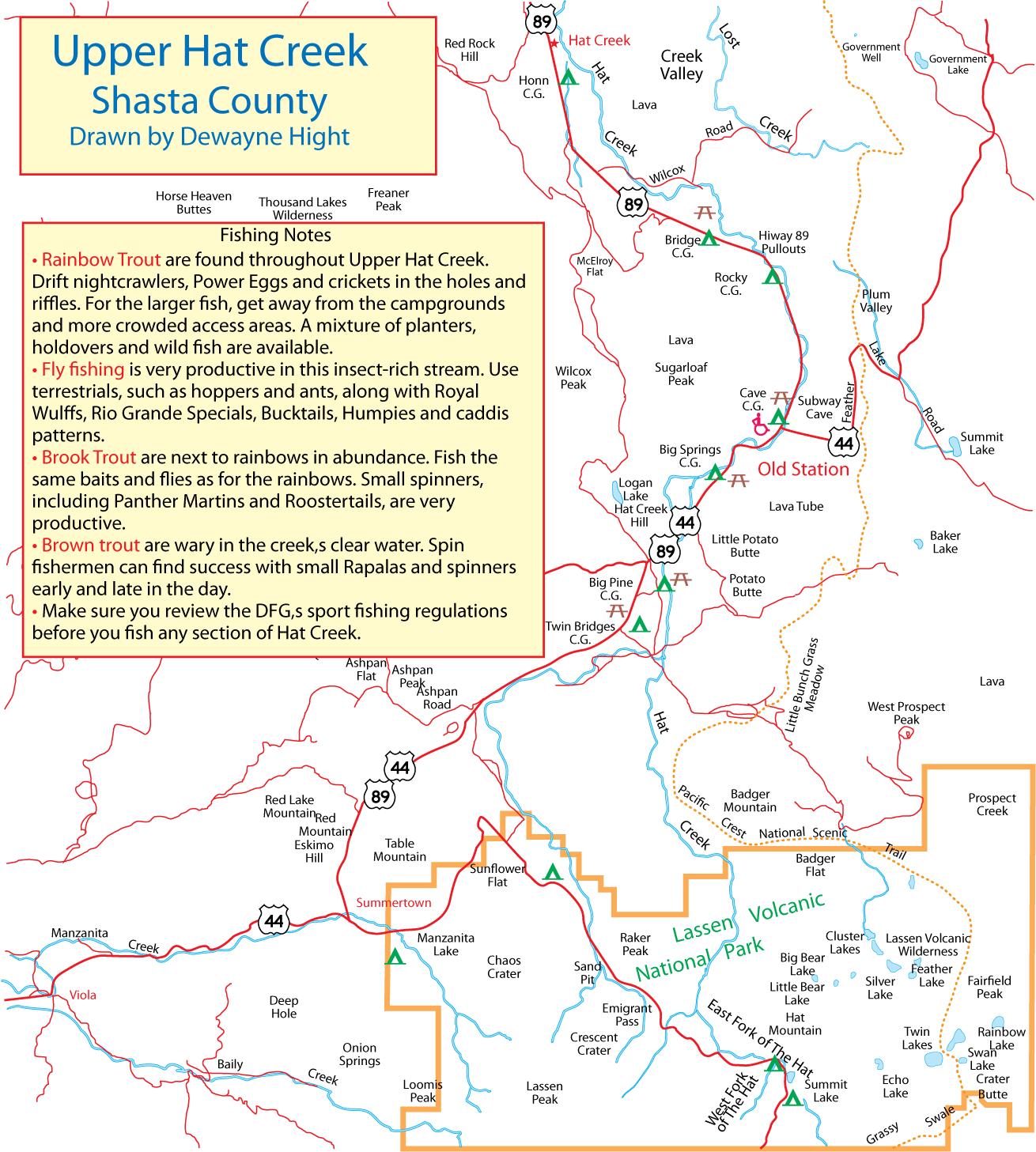 Maps for Hat creek fishing
