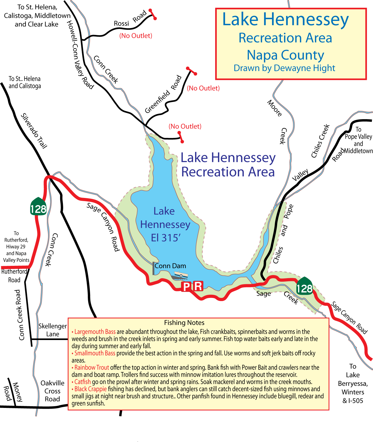 Maps for Lake hennessey fishing