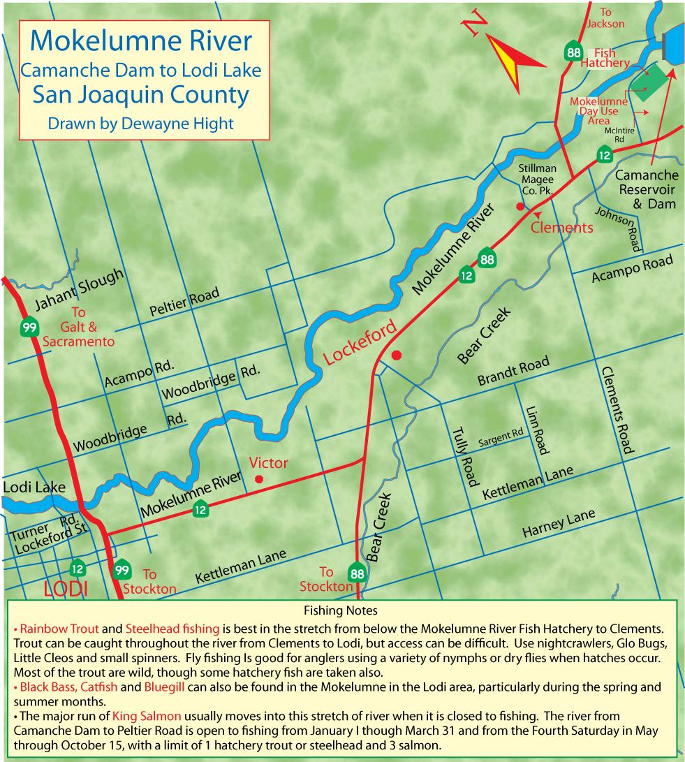 Maps for Mokelumne river fishing