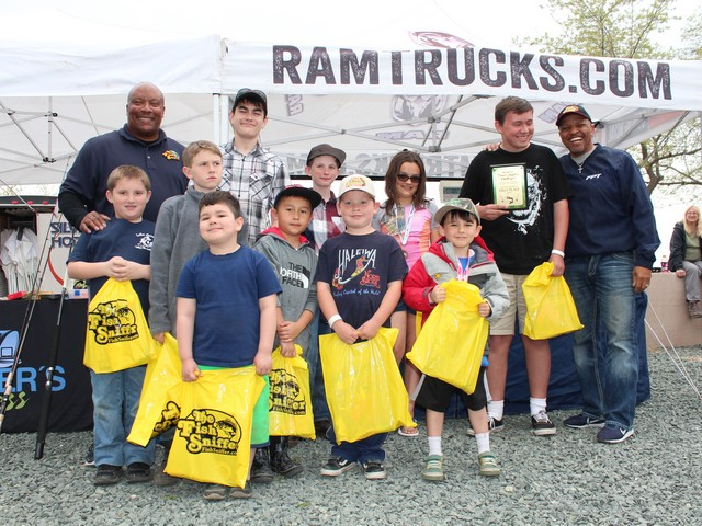 The winners in the Kids Division of the NTAC event at Lake Amador on March 18 pose with Sheldon Bright of the Fish Sniffer and Vince Harris of Angler's Press.