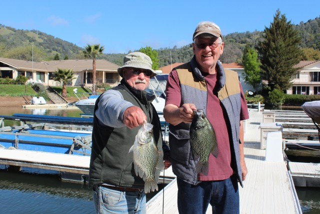 Vern Williams of Lucerne (left) and Paul Myer of Winters (right) display a couple of hard-fighting crappie caught at Clear Lake.