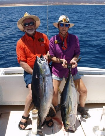 Fish Sniffer publisher Paul Kneeland and Bridget Looney with a pair of tuna caught on live bait out of Baja's Hotel Palmas de Cortez.