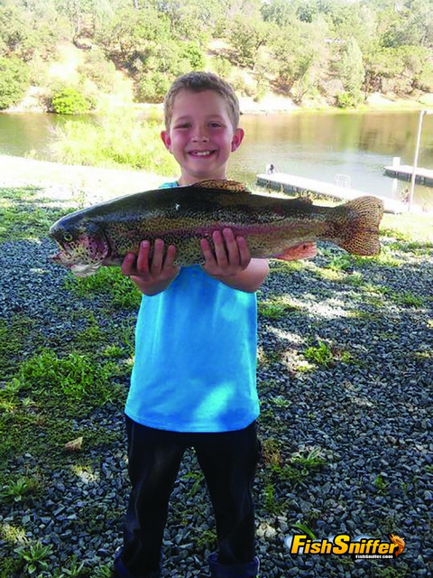 Caden hit Lake Amador with his Mom and Dad this spring and busted this impressive 4 lb. rainbow trout!