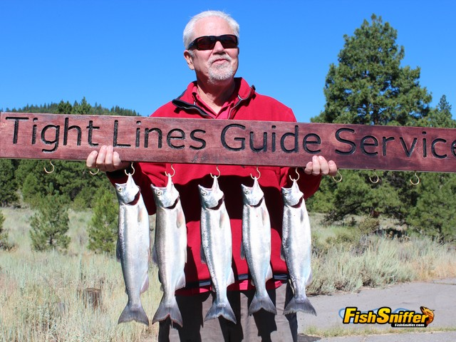Dan Bacher, Fish Sniffer Editor, holds a limit of quality kokanee caught during a trip with James Netzel of Tight Lines Guide Service on July 18.