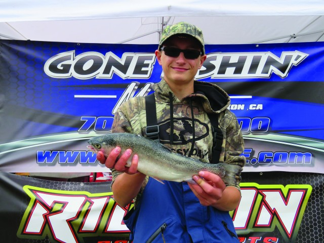 Cody Moore pulled in several rainbows while trolling Rapalas at Collins Lake on April 8 including this fat fish.