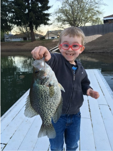 Five-year-old Tyler Myer holds up a giant crappie that he fooled with a white Mini Jig at Clear Lake  this spring.