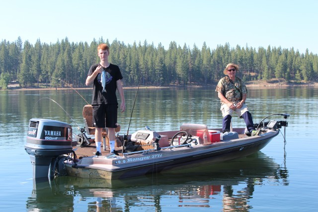 Jack and Chris McMillan of Reno enjoy a day trolling for kokanee at Stampede.